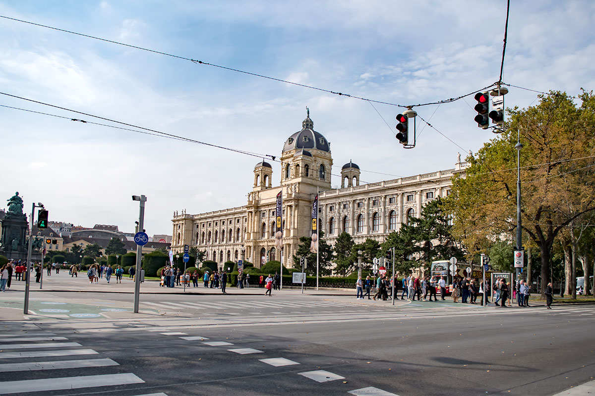 Северной границей территории площади Марии Терезии является здание Музея естествознания, протяженный корпус с тремя ризалитами.