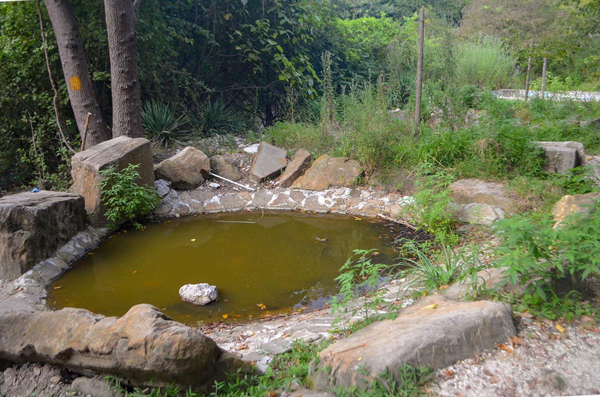 Неопознанные сооружения вблизи Агурских сероводородных источников расположены на участках, кем-то разграниченных жердями.