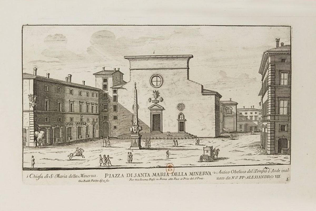 Произведение итальянского гравера Джованни Фальды позволяет видеть, как Слон Бернини с обелиском на спине выглядел на старинной немощеной площади.