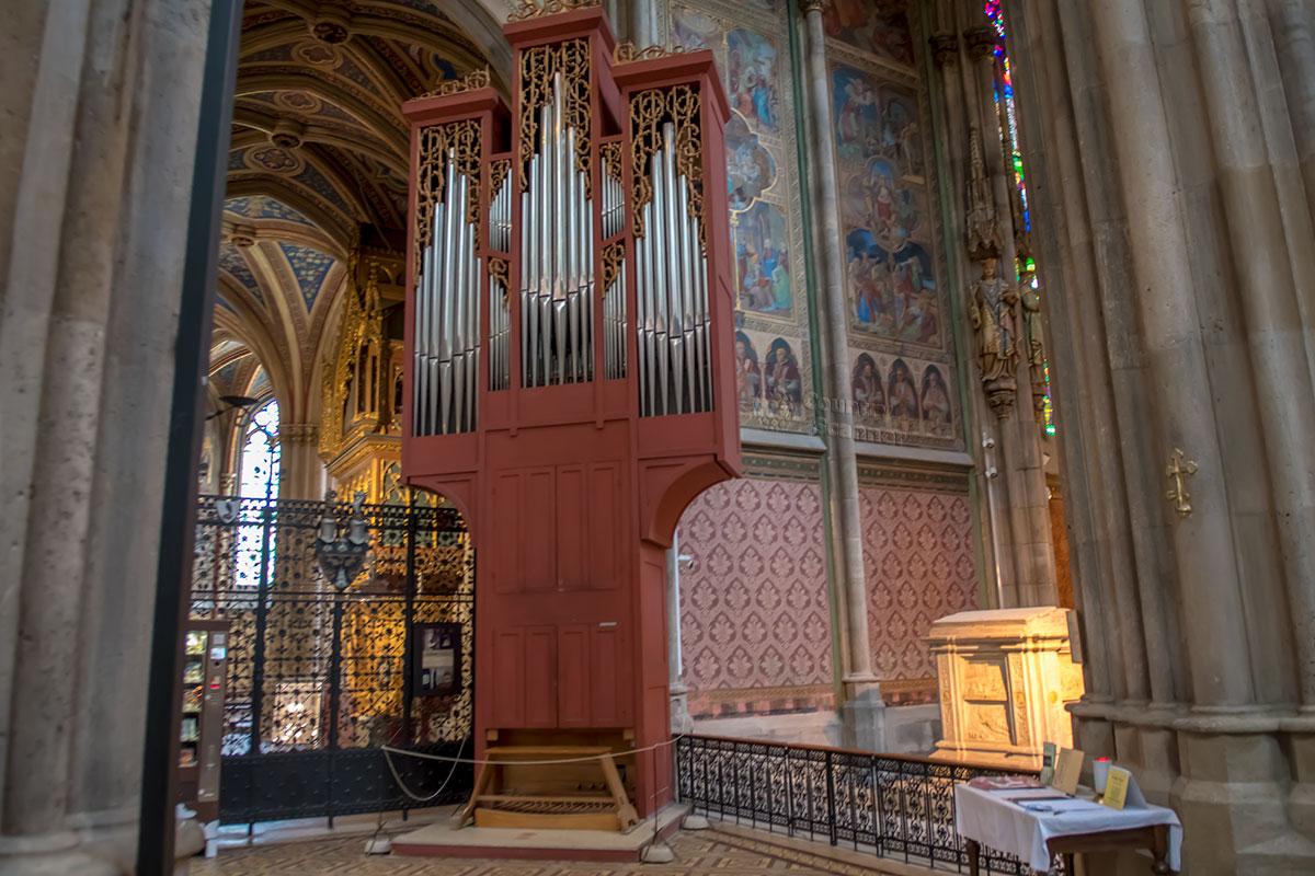 Помимо традиционного большого органа над центральным входом, Вотивкирхе имеет концертный инструмент для сопровождения хорового пения.