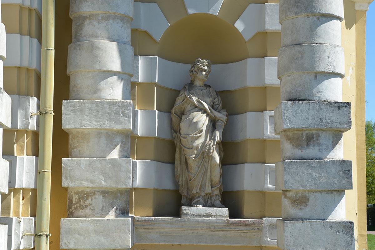 Статуи античных божеств, украшающих Грот в Кусково, расставлены в стенных нишах по периметру здания, надо его обойти, чтобы увидеть все.