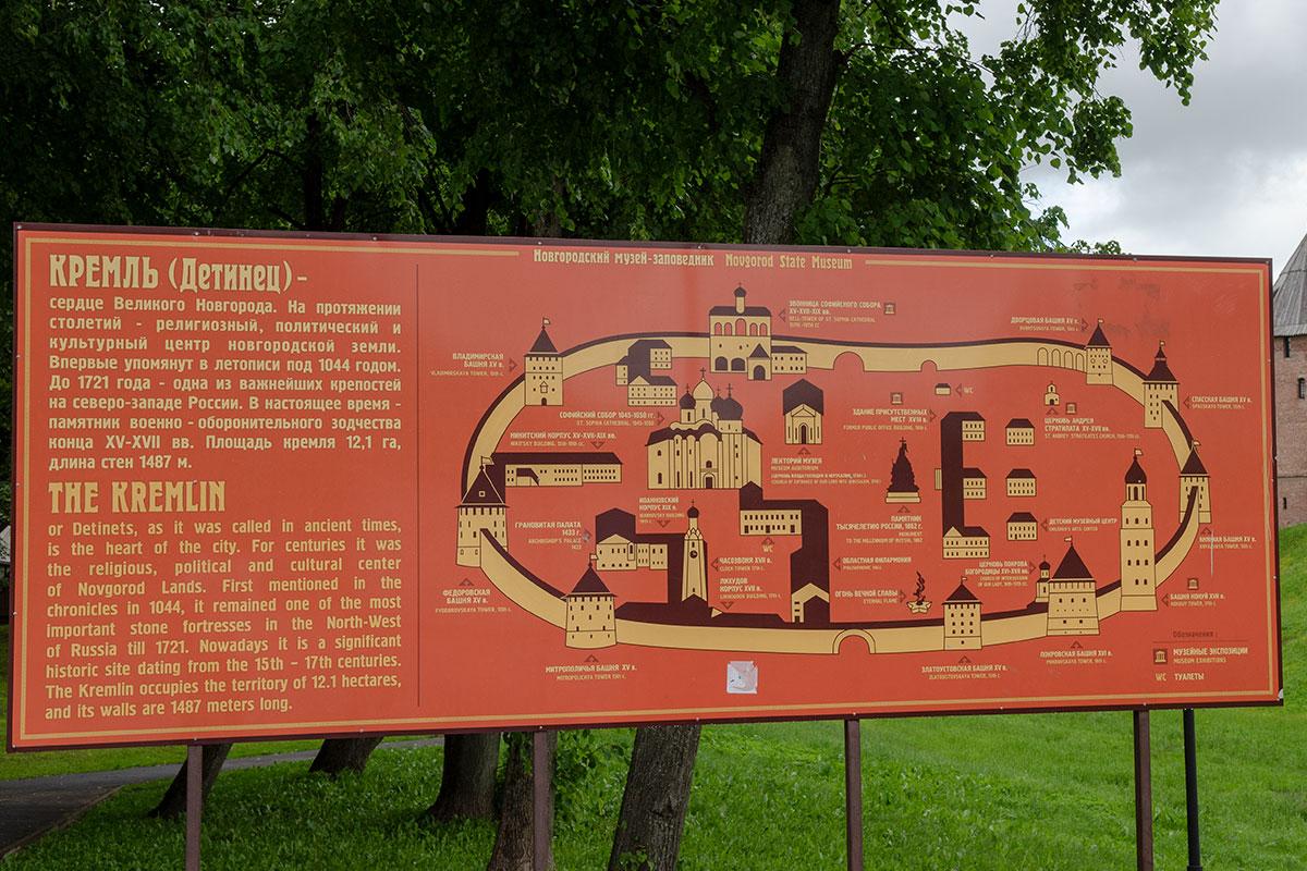 На информационном планшете Новгородский Кремль представлен достаточно подробно, только на нем север слева, наверху восточная стена.