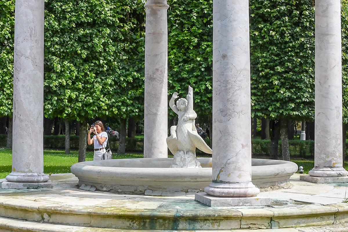 Центральное положение в комплексе розового фонтана занимает скульптура Амура с лебедем, неплохо сохранившаяся, в отличие от опорных конструкций.