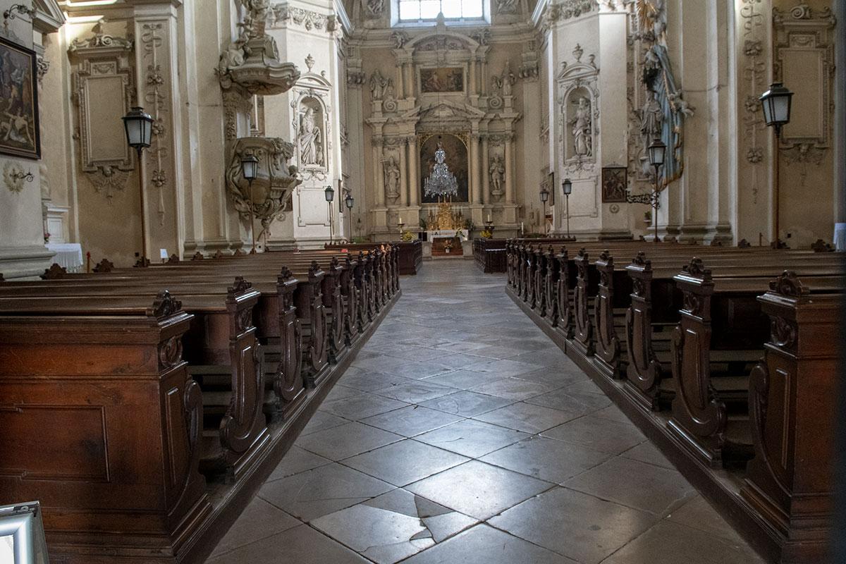 Храмовый интерьер костела вознесения Девы Марии декорирован преимущественно архитектурными элементами, лепными украшениями и скульптурами.