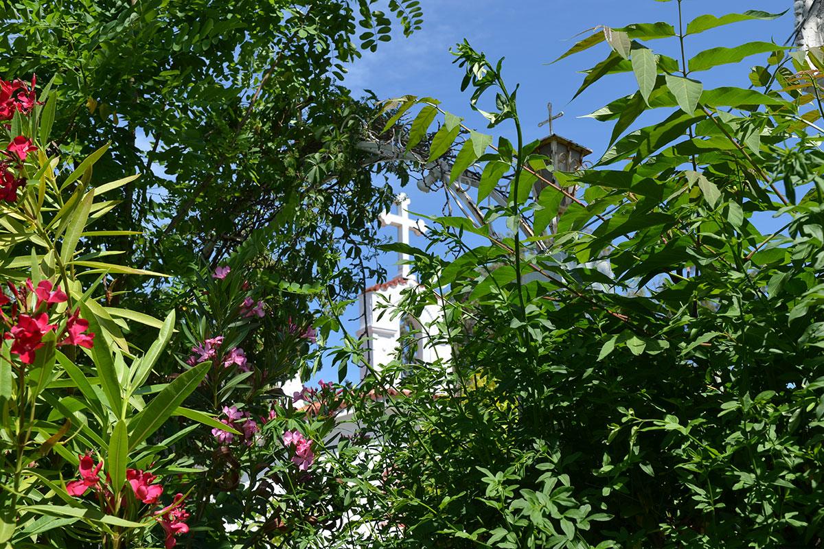 От расположенных западнее раскопок Ликея Аристотеля церковь святого Николаса отделена полосой цветущих зеленых кустарников.