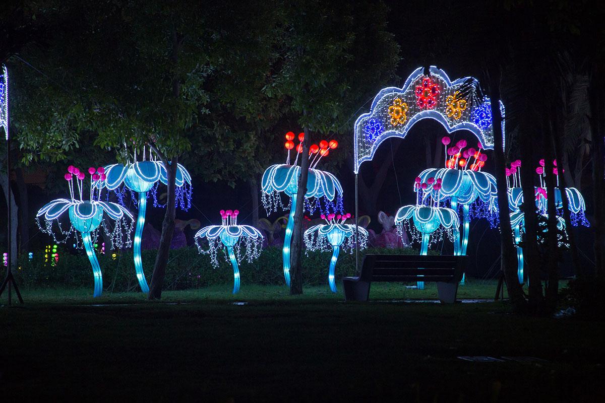 Задуманный как экологически ориентированный аттракцион, светящийся парк в Дубае не имеет осветительных фонарей, освещается только светодиодами подсветки.