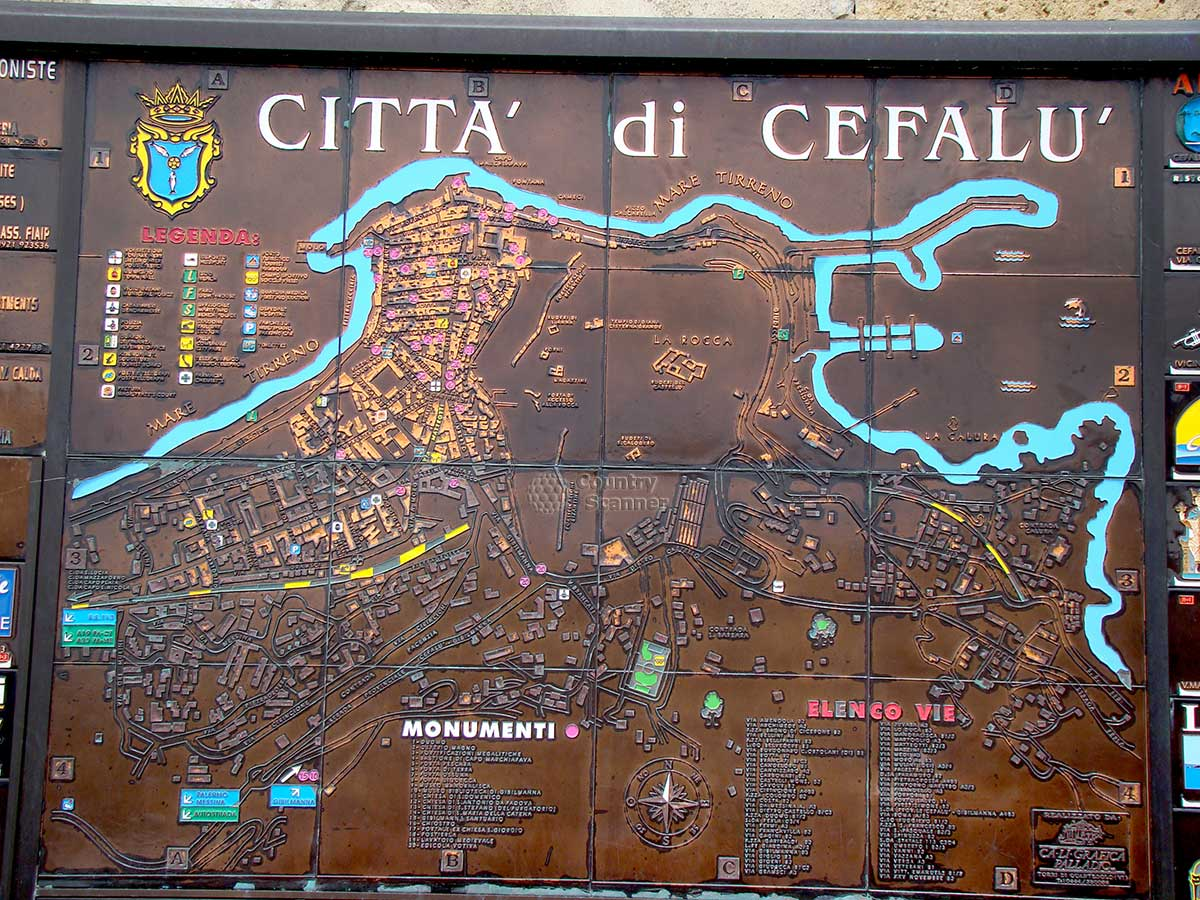 Чефалу (Cefalu) карта на стене