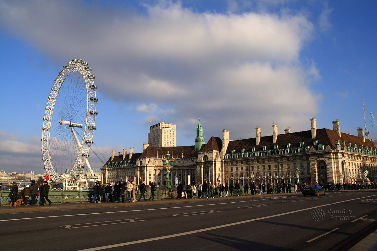 Лондонский глаз в Лондоне. Вид с моста