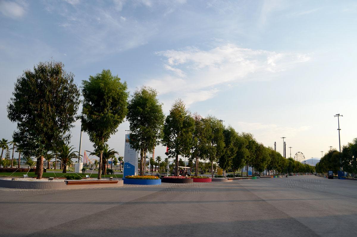 Олимпийский парк Сочи. Аллея ведущая к стадиону Фишт