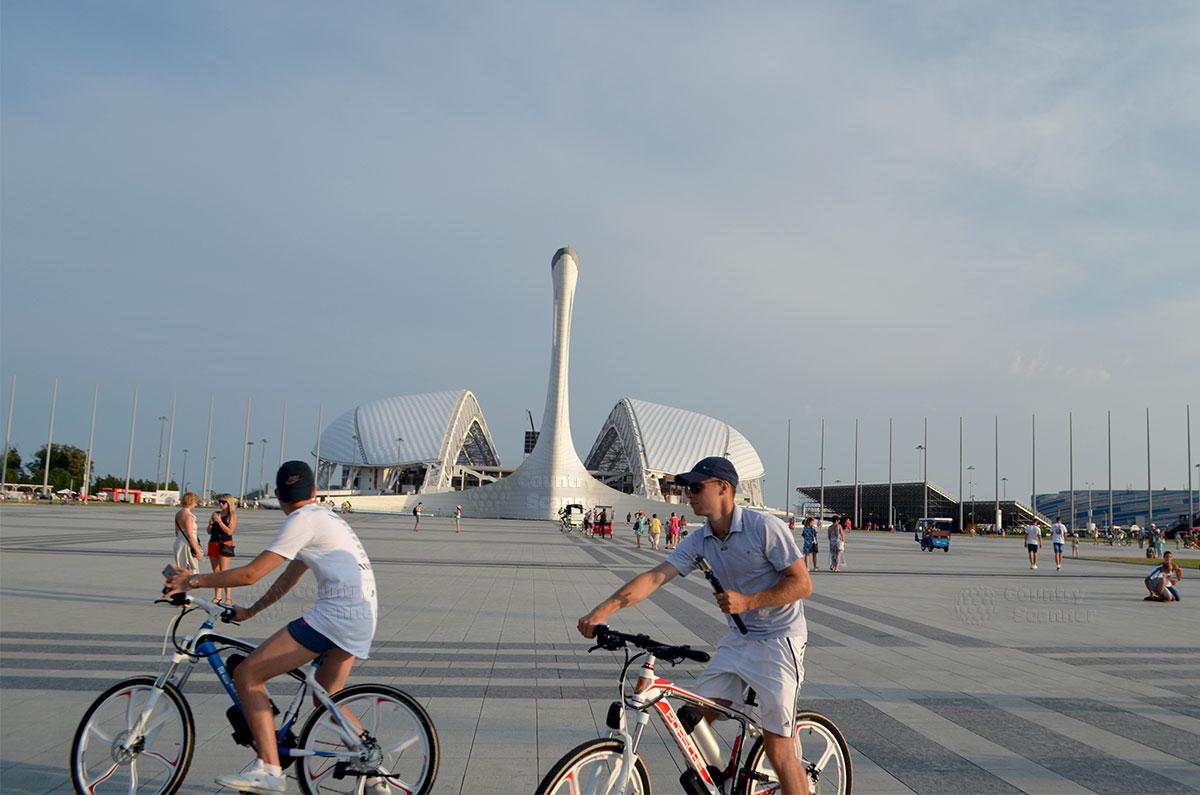 Олимпийский парк Сочи. Факел и стадион с раздвигающейся крышей.