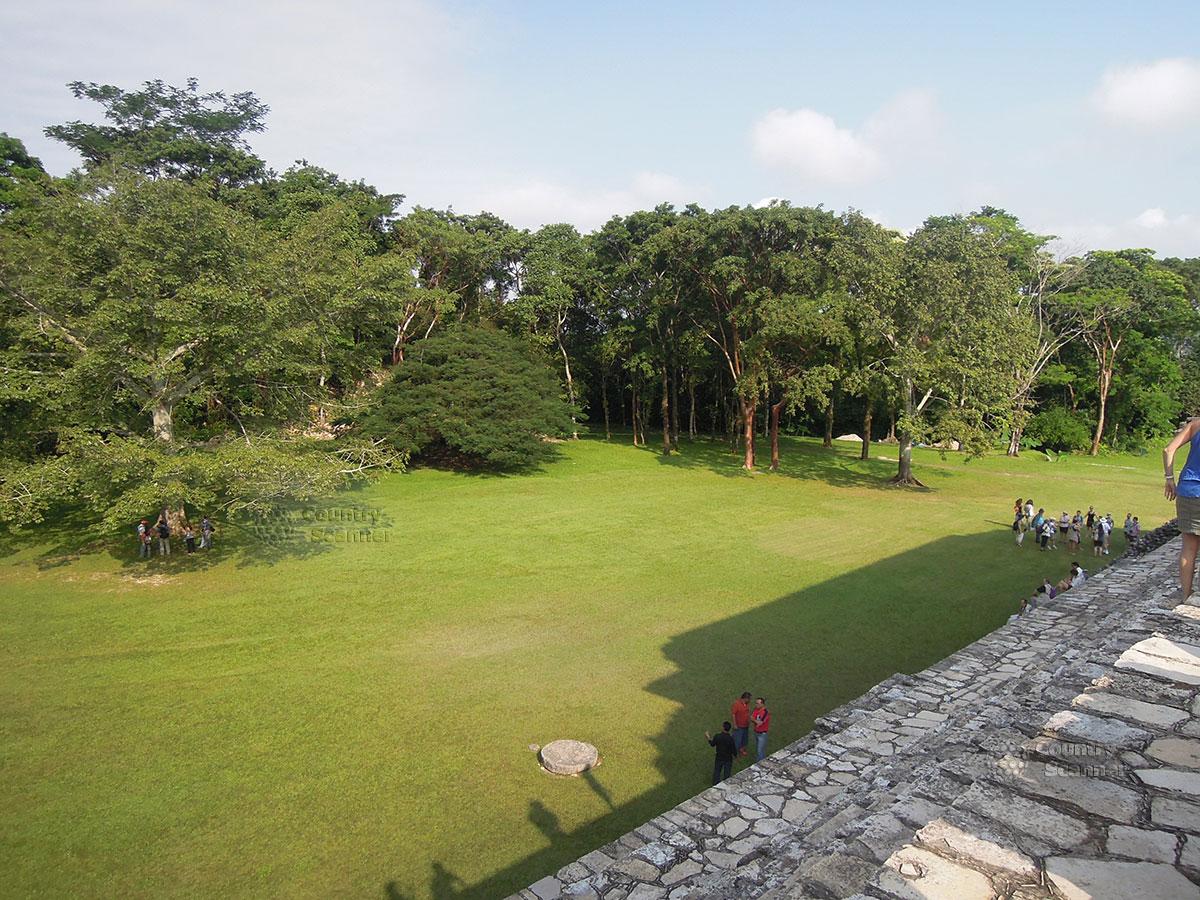 Руины Паленке в Мексике. Вид на джунгли со ступеней