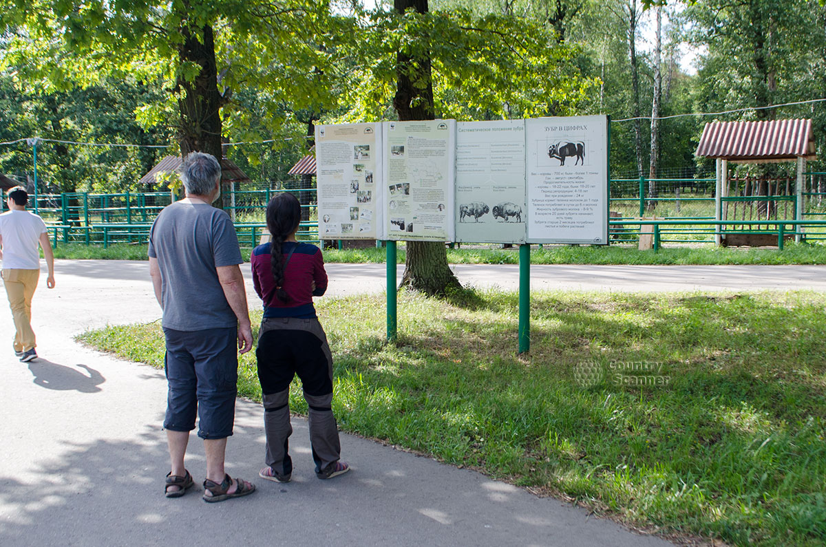 Приокско-Террасный заповедник. Люди читают информационный стенд.