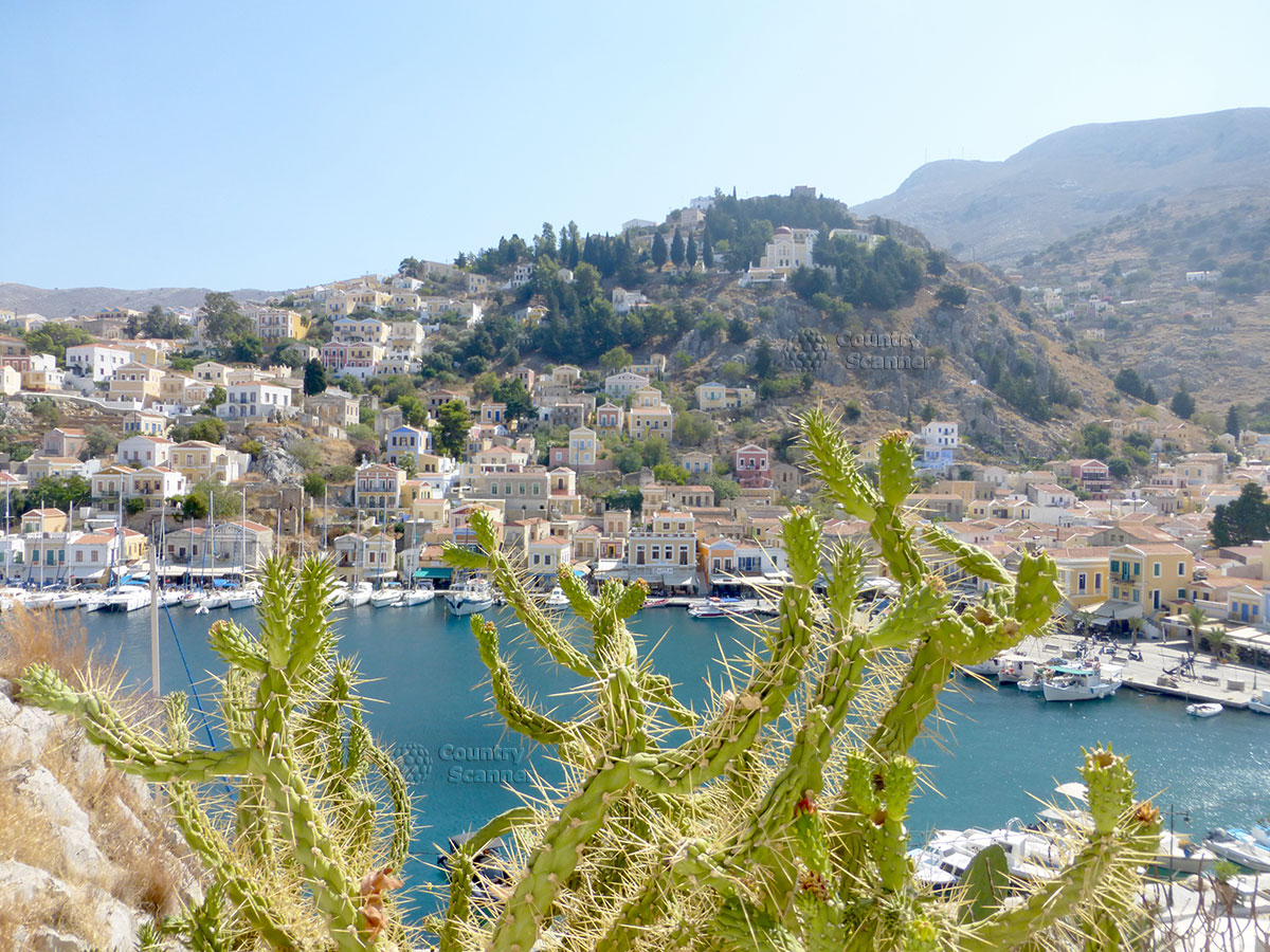 Греческий остров Сими.Вид сверху через кактусы.